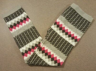 Faded Glory Womens Juniors Leggins Size OS 7-16 Striped Black Pink Gray One Size