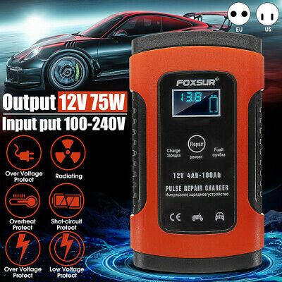 Car Battery Charger 12V 5A LCD Intelligent Automobile Motorcycle Pulse   ❤.❤