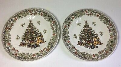 """2 Queen's Myott Factory Archive Seasons Greetings Multicolored 8"""" Salad Plates"""