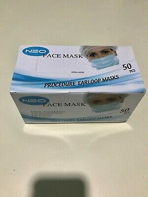 50 Pcs Disposable Mask Medical Surgical Dental Industrial Dust Respirator 3 Ply
