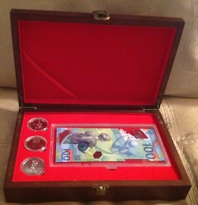 FIFA World Cup 2018 Russia Album  3 coins set+1 paper money in Wooden box NEW