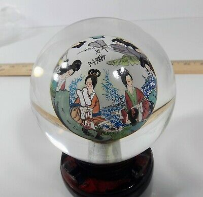 Spinning Glass Orb Reverse Interior Painted Japanese Paperweight on Wooden Stand