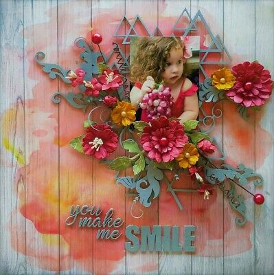 "Handmade Mixed Media 12"" x 12"" Scrapbook Page - You make me Smile"