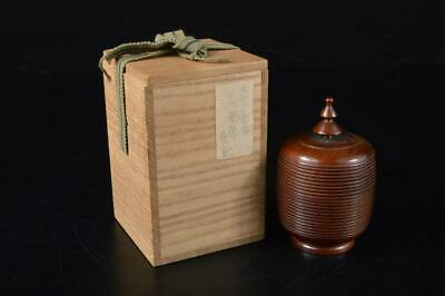 E2741: Japanese Wooden Lacquer ware Top-shaped TEA CADDY Natsume Container w/box