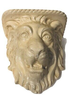 Vintage Plaster Ceramic White Lion Head Wall Bracket Sconce Shelf Corbel Gothic