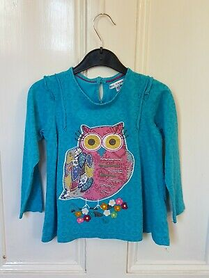 M+S Girls Age 4-5 Years Long Sleeved Top Owl