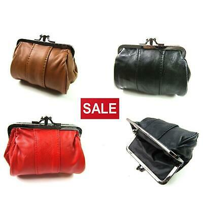Ladies New Quality Soft Small Genuine Leather Clip Top Coin Purse Pouch Wallet