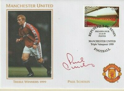 1999 Manchester United Treble Winners Cover Hand Signed Paul Scholes
