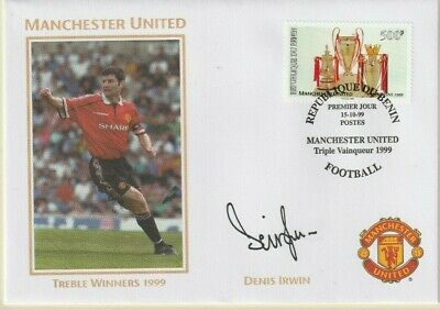 1999 Manchester United Treble Winners Cover Hand Signed Dennis Irwin