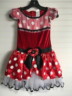 Disney Girls Sparkling Red Polka Dot Minnie Mouse Dress M (7-8)