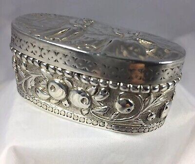 Stunning Antique Hm Silver/Gilt Chased Victorian 'Thomas Glaser' Snuff Box 1887