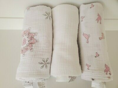 ADEN & ANAIS Lot of 3 Baby Girl Soft Blanket Muslin Cotton Large Swaddle Bird
