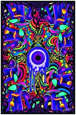 New ! A SHROOM WITH A VIEW - MUSHROOM BLACKLIGHT POSTER - 23X35 Trippy 2019