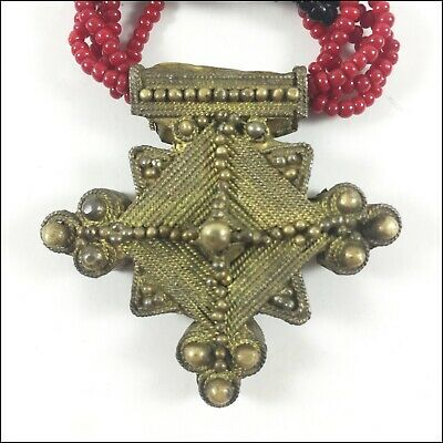 Ancient, Necklace Bronze Cross Beads Vintage, Handmade Pendant Amulet, Rare Old