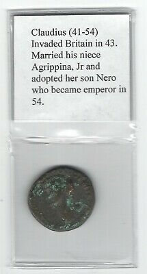 Ancient Roman Empire Bronze Coin, Claudius (41-54)
