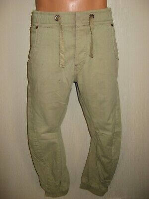 Hardly Worn Boys Pale Green Jogger Style Skinny Cuffed Leg Jeans Age 13-14-15