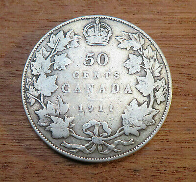 1911 Canada Half Dollar - Silver .925 - Toned 50 Cent piece