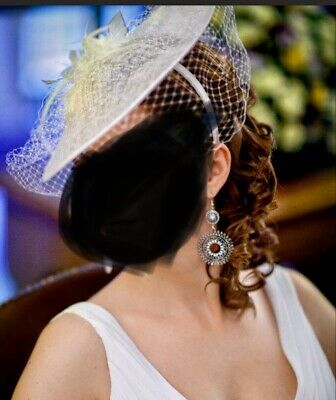 Jasper Conran Fascinator Ivory with White Feather Wedding Special Worn Once