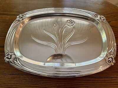 Vintage 1847 Rogers Bros ~DAFFODIL~ Silverplate Platter With Well BEAUTIFUL