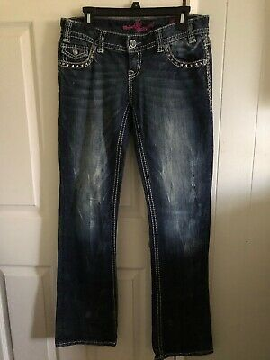 ROCK /& ROLL Cowgirl Leather Embroidery Low Rise Dark Boot Cut Jeans #W0-5530