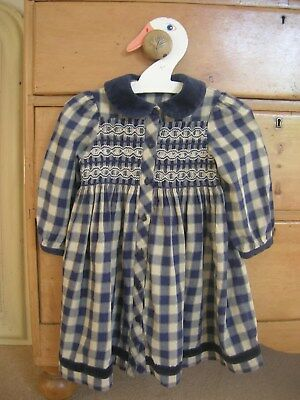 Marks and Spencer Girls Checked Tartan smocked traditional dress age 1.5-2 years