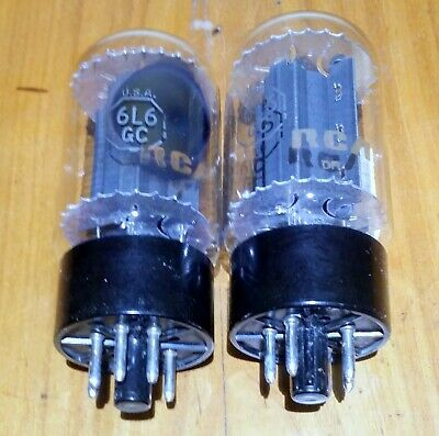 RCA 6L6GCblack plate,matched pair tubes,Röhren,tested  97%