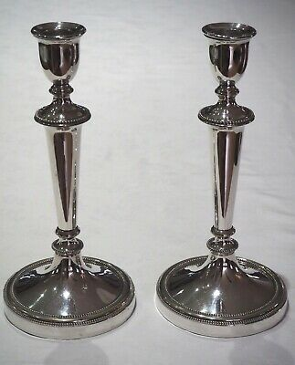 Antique Early Victorian Pair of Silver-Plated Candlesticks