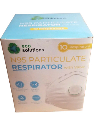 Eco Solutions N95 Particulate Respirator Mask Exhalation Valve 10 masks Prepper