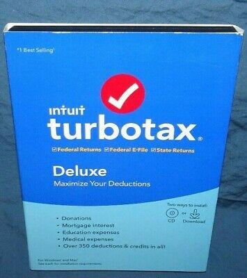 Intuit Turbotax Deluxe Federal & State Return + E-File 2019 Tax Software Sealed