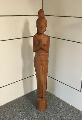 "Vintage Thai Sawasdee Lady Wood Carving Figurine - 20"" Tall - Genuine TEAK Wood"