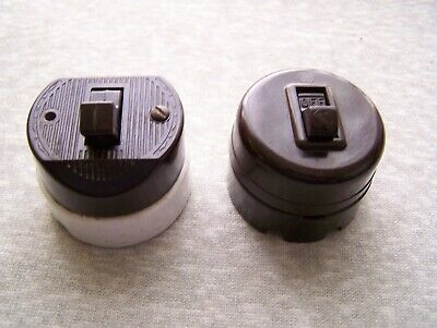 Lot Of 2 Antique Vintage Leviton Bakelite Porcelain Round Toggle Light Switch