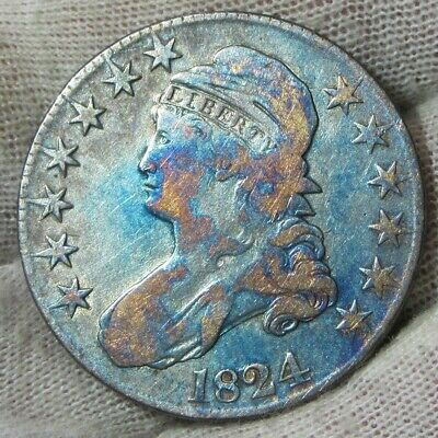 1824 50c Capped Bust Silver Half  Dollar Toned   #022424