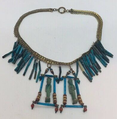 Antique Victorian Egyptian Revival Blue Faience Gold Filled Dangle Necklace