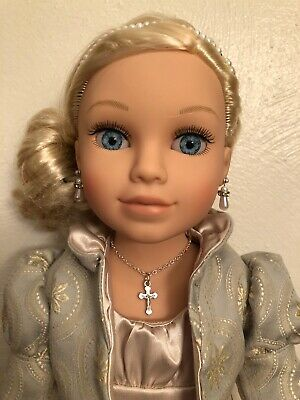 Crucifix Cross Silver Necklace for American Girl Dolls 18 inch Journey Girls
