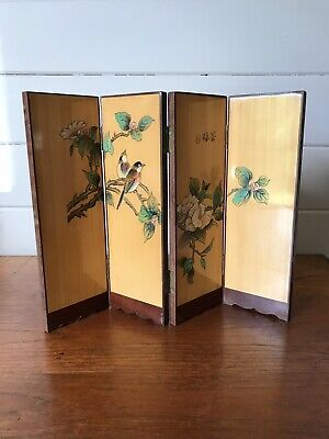 Vintage Japanese Byobu Folding Table Top Screen Engraved Wood Signed By Artist