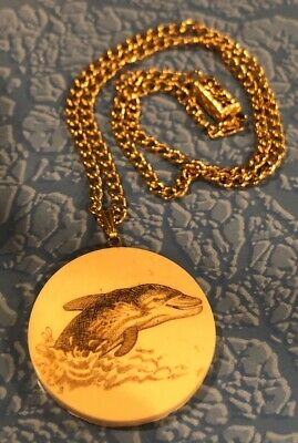 Dolphin Carving Carved Fossil Lapel Pin Vtg Scrimshaw Ocean Flipper Necklace 70s