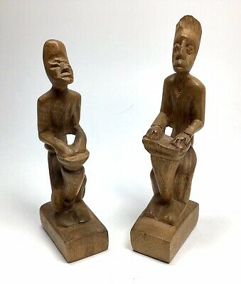 Hand Carved Wood Bongo Drum Drummer Figures -Native Wooden Carving Art Sculpture