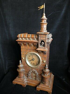 Antique MANTEL SHELF Cuckoo Clock, VERY RARE! Black Forest CASTLE case vintage
