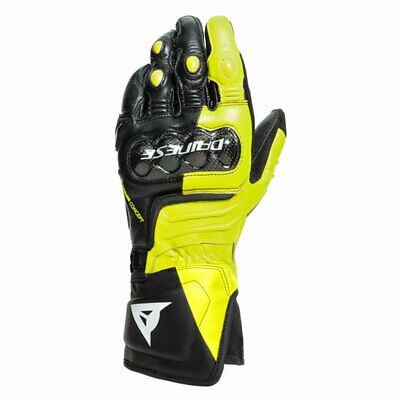 D - Dainese Carbon 3 Motorcycle Leather Long Gloves Black / Fluo Yellow / White