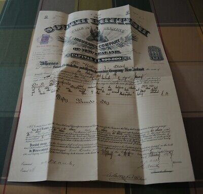 1897 Large Original South British Insurance Company Of Nz  Certificate Piano #2