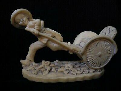 Soapstone CHINESE RICKSHAW BOY Antique Vintage Collectible ASIAN ORIENTAL