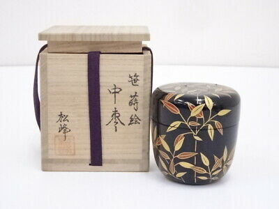 4583996: Japanese Tea Ceremony / Lacquered Tea Caddy Natsume Bamboo Leaf
