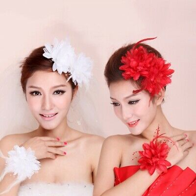 NEW Bridal Flower Feather Bead Hair Clips Fascinator Hairband Brooch Pin Wedding