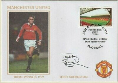 1999 Manchester United Treble Winners Cover Hand Signed Teddy Sheringham