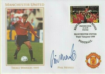 1999 Manchester United Treble Winners Cover Hand Signed Phil Neville