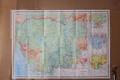 Vintage Original Folding Paper Map of Cambodia Large Old Geography School Map