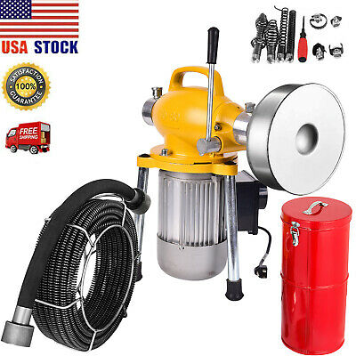 "3/4""-5"" Drain Sewer Snake Cleaner Drain Sectional Auger Cleaning Machine 500W US"