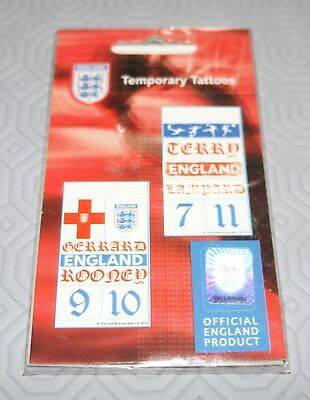 New Sealed England Football Temporary Tattoos Rooney Gerrard Terry Lampard