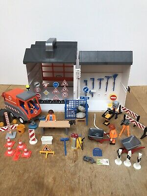 Playmobil construction garage bundle with road sweeper - Free UK Shipping