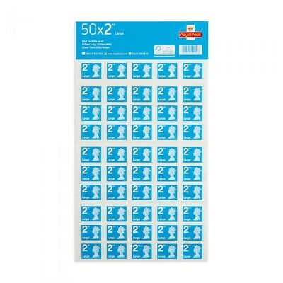 50x2 Royal Mail Second Class Large Letter Size 2nd Class